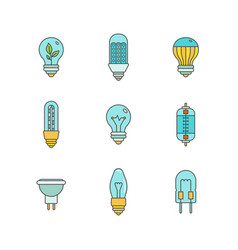 Light bulbs iconset in minimal lineart flat style vector