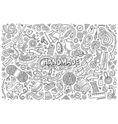 Line art hand drawn doodle cartoon set of vector