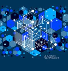 mechanical scheme dark blue engineering drawing vector image