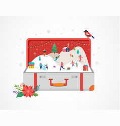merry christmas big open suitcase with winter vector image