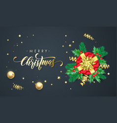 merry christmas golden decoration and gold font vector image
