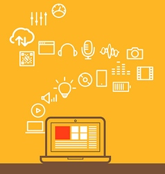 Modern computer media with different icons Design vector image