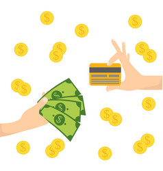 Money in hand gold coin dollar credit card vector