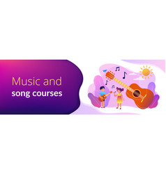 Musical camp concept banner header vector