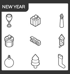 new year outline isometric icons vector image