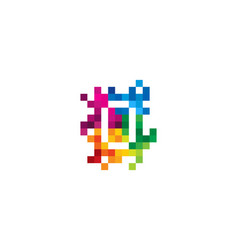 O letter mosaic pixel logo icon design vector