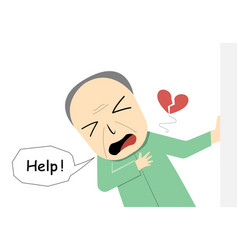 Old man suffering from heart attack in art vector