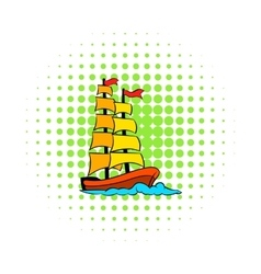 Old sailing ship icon comics style vector