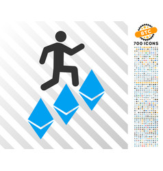 Person climb ethereum flat icon with bonus vector