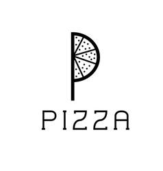 pizza monogram vector image