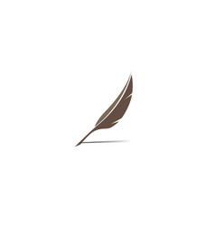 Plume write quill logo design vector