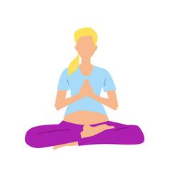 pregnancy woman in lotus pose icon vector image
