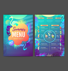 restaurant summer tropical gradient cocktail menu vector image