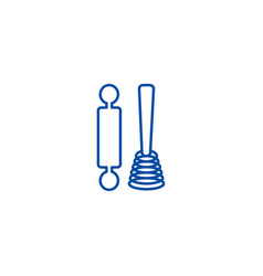 roller and whisk line icon concept roller and vector image