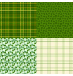 Saint Patricks Day seamless patterns vector image