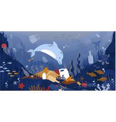 Sea garbage marine animals floating in dirty vector