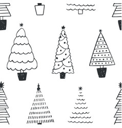 seamless pattern with different christmas trees vector image