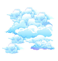 set beautiful clouds isolated on white vector image