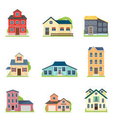 set cute colorful houses in city or village vector image