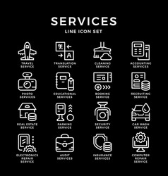 Set line icons of services vector