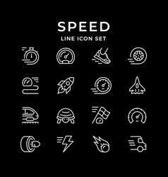 set line icons speed vector image