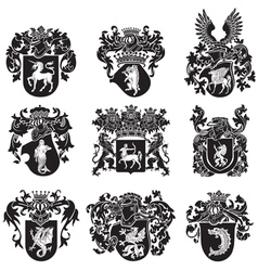 Set of heraldic silhouettes No5 vector