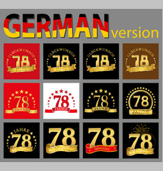 set of number seventy-eight 78 years celebration vector image