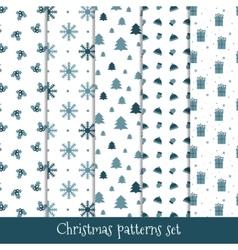 Set of simple retro Christmas patterns Winter vector