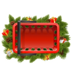 Shopping Basket with Christmas Decorations vector