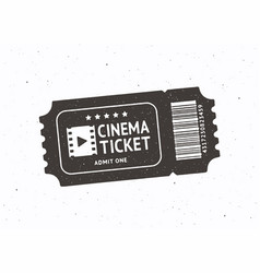 silhouette one cinema ticket with barcode vector image