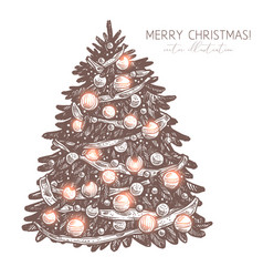 sketch christmas tree with decorations and garland vector image