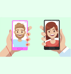smartphone with virtual relationship app hands vector image