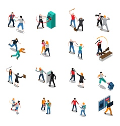 Street Hooligans Isometric Icons vector