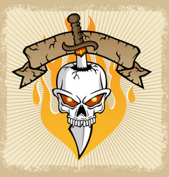 Sword pierces skull with banner and flame vector