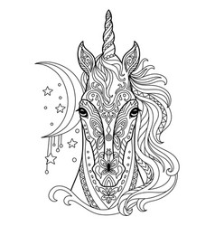 Tangle unicorn coloring book page for adult vector