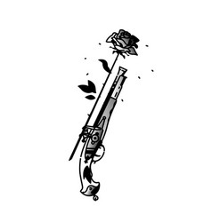 tattoo an antique pistol and a rose vintage vector image