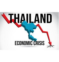 Thailand map financial crisis economic collapse vector