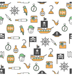 thin line art pirates seamless pattern vector image