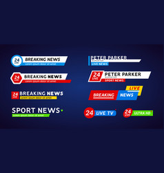 Tv news third lower bar banner for broadcast sport vector