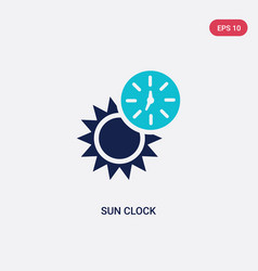 Two color sun clock icon from general concept vector
