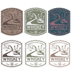 Vintage grunge labels of whiskey with copper vector