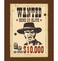 Vintage western retro Wanted Poster vector
