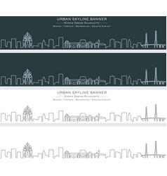 Vladivostok single line skyline banner vector