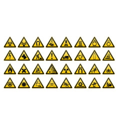 warning signs large set safety in workplace vector image