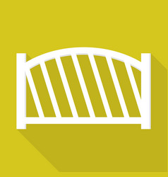White wood fence icon flat style vector