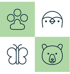 Zoology icons set collection diver claw print vector