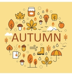 Autumn Line Art Thin Icons Set with Umbrella vector image vector image