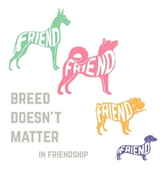 Dog breed silhouette with friendship concept text vector image vector image