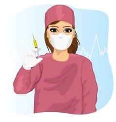 Female doctor in face mask holding a syringe vector image