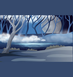 Forest scene with fullmoon and mist vector